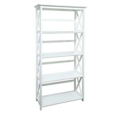 63 in. H White New Wood 4-Shelf Etagere Bookcase with Open Back