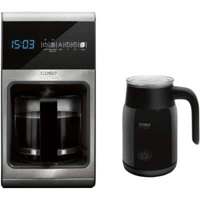 Coffee One 10-Cup Stainless Steel Drip Coffee Maker with 3.4 oz. Electric Milk Frother