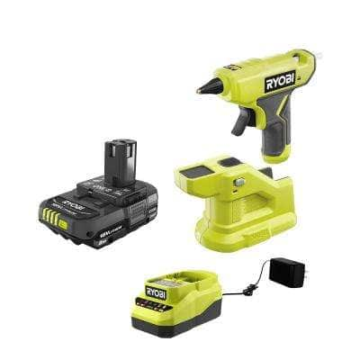 ONE+ 18V Cordless Compact Glue Gun with 2.0 Ah Battery and Charger