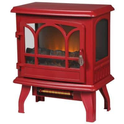 Kingham 400 sq. ft. Panoramic Infrared Electric Stove in Red with Electronic Thermostat