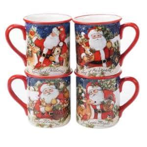 16 oz. Magic of Christmas Santa Multicolored Earthenware Mugs (Set of 4)