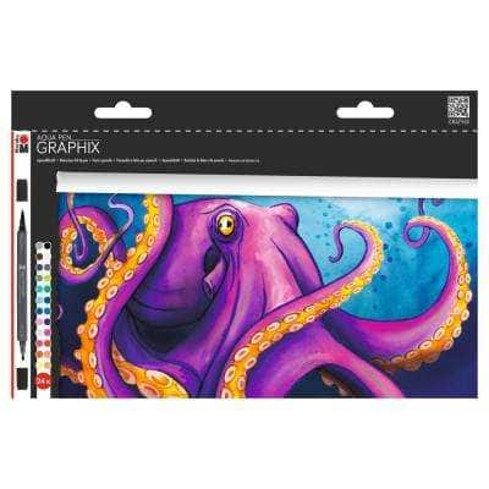 Graphix Aqua Pen Set, 24-Colors, Octopy