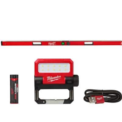 72 in. REDSTICK Digital Box Level with Pin-Point Measurement Technology and 550 Lumens LED Rechargeable Flood Light