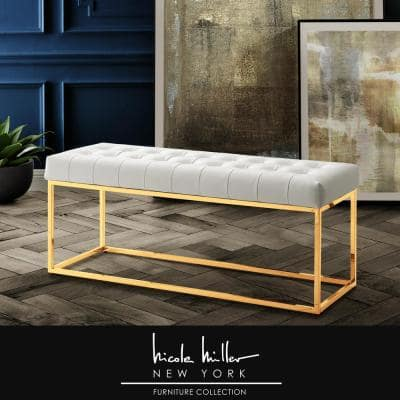 Koa White/Gold PU Leather Bench with Button Tufted Metal Frame
