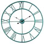 "Oversized Roman Round Wall Clock, Distressed Sea Green, 30"""