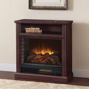 Parkdale 30 in. Freestanding Mobile Infrared Electric Fireplace in Cherry