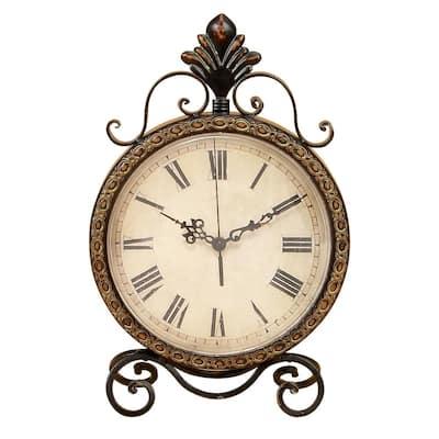 Brown Metal Rustic Analog Tabletop Clock