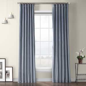 Denmark Blue Velvet Rod Pocket Room Darkening Curtain - 50 in. W x 108 in. L