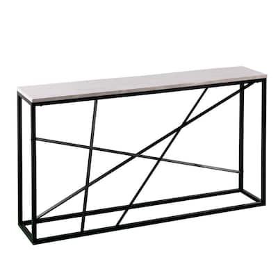Tesino 52 in. Matte Black/White Rectangle Composite Console Table