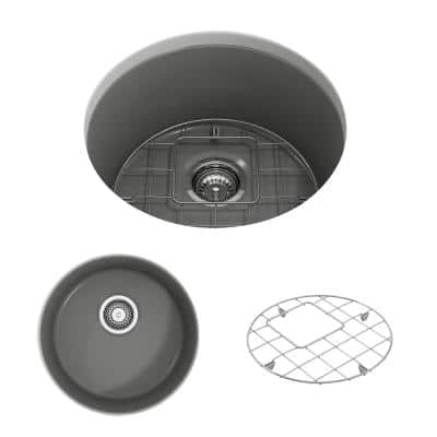 Sotto Undermount Fireclay 18.5 in. Single Bowl Round Kitchen Sink with Bottom Grid and Strainer in Matte Gray
