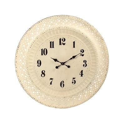 Antique White Paris Iron Cutout Clock