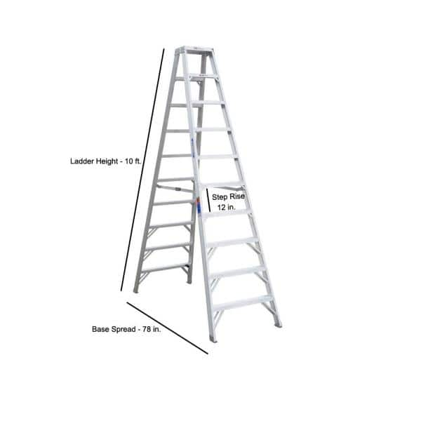 Werner 10 Ft Aluminum Twin Step Ladder With 300 Lb Load Capacity Type Ia Duty Rating T310 The Home Depot