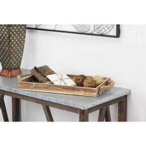 Wooden Rectangular Tray with Rope Side Handles