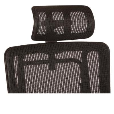 Breathable Vertical Black Headrest with Steel/Gray Mesh