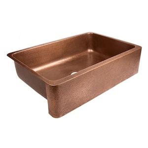Lange Farmhouse Apron Front Pure Copper Sink 32 in. Single Bowl Kitchen Sink in Antique Copper