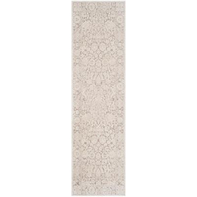 Reflection Beige/Cream 2 ft. x 10 ft. Floral Distressed Runner Rug