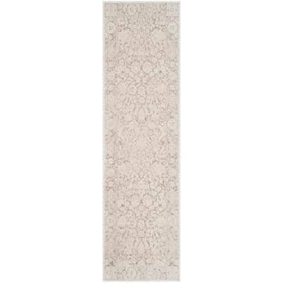 Reflection Beige/Cream 2 ft. x 6 ft. Floral Distressed Runner Rug