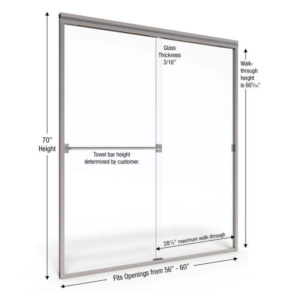 Basco Classic 60 In X 70 In Semi Frameless Bypass Shower Door In Silver With Handle Clch05a6070xpsv The Home Depot
