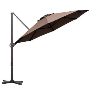 11 ft. Cantilever Push Tilt Patio Umbrella in Cocoa