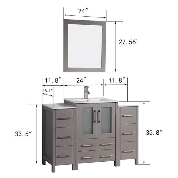 Vanity Art Brescia 48 In W X 18 D, What Size Mirror For A 48 Inch Vanity