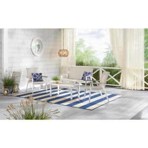 Beach Haven Shell White 4-Piece Sling Outdoor Patio Conversation Seating Set