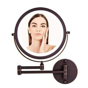 Small Round Lighted Tilting Mirror (13.4 in. H x 1.6 in. W)