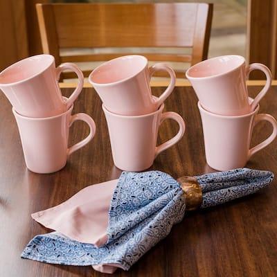 Floreal 11.16 oz. Pink Earthenware Mugs (Set of 6)