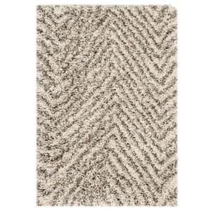 Hudson Shag Ivory/Gray 3 ft. x 5 ft. Striped Chevron Area Rug