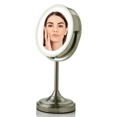 Small Nickel Brushed Metal Lighted Glam Mirror (12.8 in. H X 5.3 in. W)