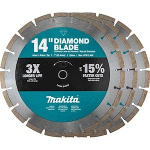 14 in. Segmented Rim Diamond Blade for General Purpose (3-Pack)