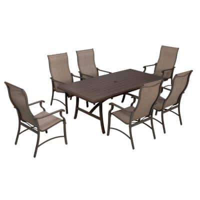 Brown 7-Piece Textilene Fabric Chairs and Aluminum Table Outdoor Dining Set