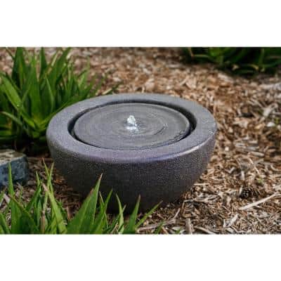 Round Sphere Water Fountain w/LED Light, Indoor Outdoor Decor, 10 in. Tall, Grey
