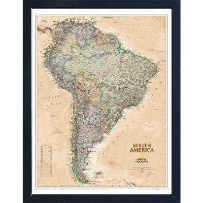 National Geographic Framed Interactive Wall Art Travel Map with Magnets - South America Executive
