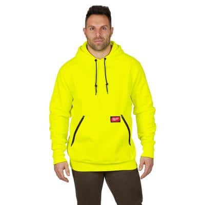 Men's Large Hi-Vis Heavy Duty Cotton/Polyester Long-Sleeve Pullover Hoodie