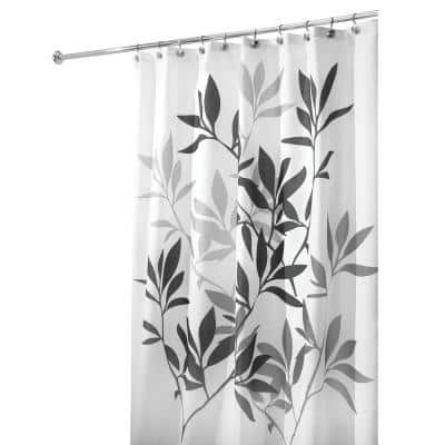 Interdesign Leaves Shower Curtain In, Black And Cream Shower Curtain