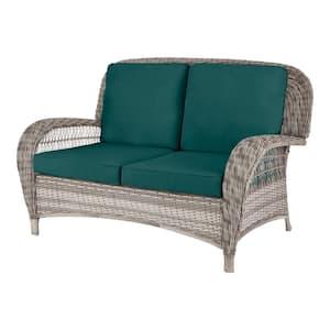 Beacon Park Gray Wicker Outdoor Patio Loveseat with CushionGuard Malachite Green Cushions