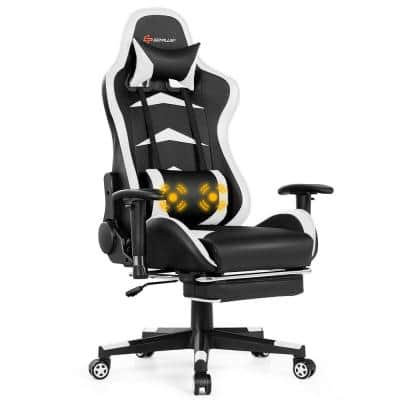 White Gaming Chair Reclining Swivel Racing Office Chair with Footrest