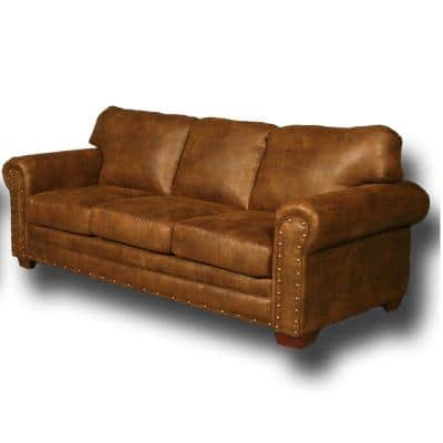 Buckskin 88 in. Width Buckskin Pinto Microfiber Queen Size Sofa Bed