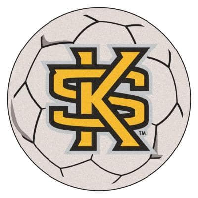 NCAA Kennesaw State University Cream 2 ft. x 2 ft. Round Area Rug