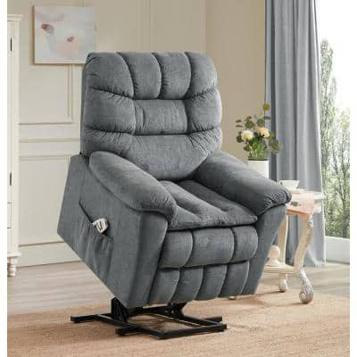 35 in. Width Big and Tall Gray Fabric Tufted Lift Recliner