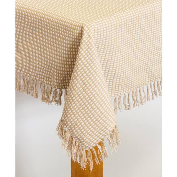Lintex - Homespun Fringed 60 in. x 84 in. Ecru 100% Cotton Tablecloth
