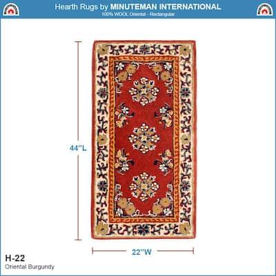Oriental Rectangular Hearth Rug, 44 Inch Long, Burgundy