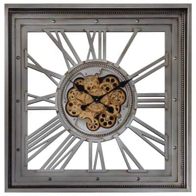 Golden Gears Antique Silver Square Wall Clock