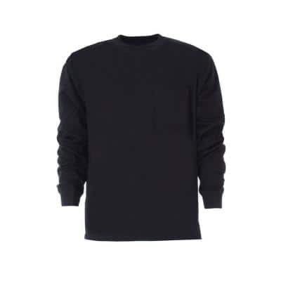 Men's Small Regular Navy Cotton and Polyester Heavy-Weight Long Sleeve Pocket T-Shirt