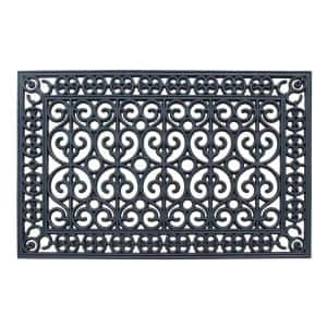 A1HC First Impression Rubber Paisley 24 in. x 36 in. Beautifully Hand Finished Elegant Large Double Door Mat