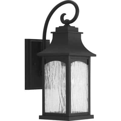 Maison Collection 1-Light Textured Black Water Seeded Glass Farmhouse Outdoor Small Wall Lantern Light