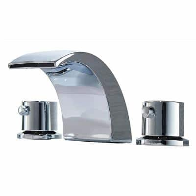 8 in. Widespread 3 Holes 2-Handle Waterfall Bathroom Faucet in Chrome