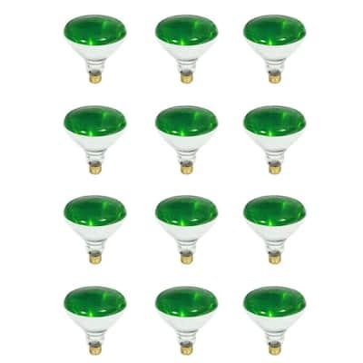 100-Watt PAR38 Dimmable Green Color Incandescent Light Bulb (12-Pack)