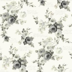 Heirloom Rose Gray/White Paper Peel & Stick Repositionable Wallpaper Roll (Covers 34 Sq. Ft.)