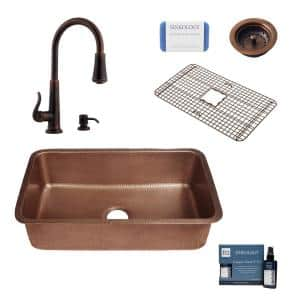Orwell All-in-One Undermount Copper 30 in. Single Bowl Kitchen Sink with Pfister Ashfield Bronze Faucet and Strainer